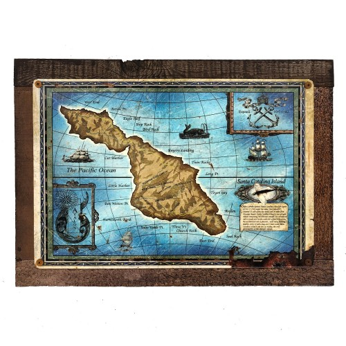 Vintage Map Catalina Sign