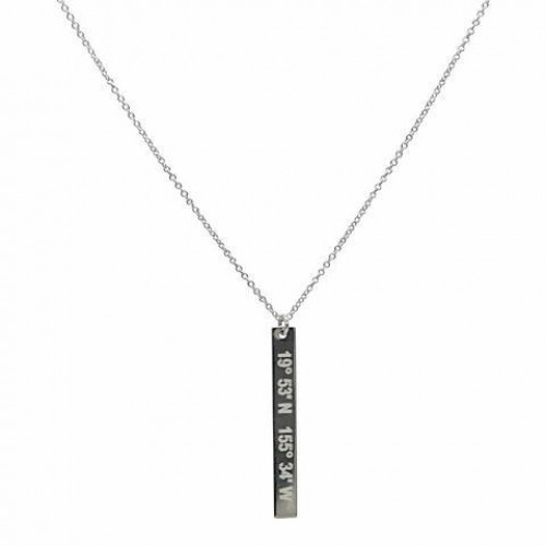 Catalina Lat Lo Vertical Bar SS Necklace